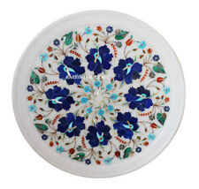 "14"" Marble Serving Plate Pietradure Inlay Living Room Decor Gifts H2558"