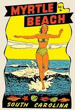 Myrtle Beach, SC   Pin-Up Girl     Vintage- 1950's  Style  Travel Sticker/Decal