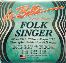 La Bella 840 FolkSinger Guitar Strings silver plated clear nylon