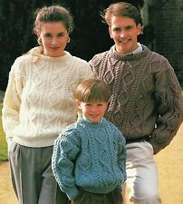 "#235 MAN'S LADIES CHILDRENS ARAN CABLE SWEATER 26-44"" VINTAGE KNITTING PATTERN"