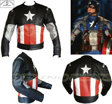 CAPTAIN AMERICA STYLE MENS BLACK MOTORBIKE / MOTORCYCLE LEATHER JACKET