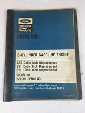 1972 FORD POWER PRODUCTS INDUSTRIAL GAS ENGINE PARTS LIST