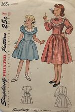 Vtg 1940s Simplicity 2657 Pattern Girls Ruffle Yoked Dirndl Tie Dress Size 10