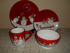 16pc JCPenny HOME Red Snow Family Fun Dinnerware CHRISTMAS Kerman Plates Bowls..