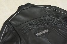 Harley Davidson Men Reflective B&S Perforated Black Leather Jacket XL 97055-08VM
