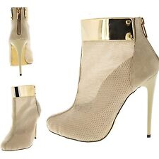 Sexy Gold plate Booties Platform Pumps Stiletto High Heels Ankle Boots Shoes H67