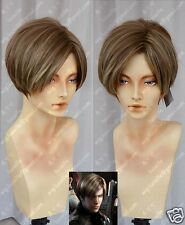 biohazard Leon Resident Evil Anime Cosplay Costume Wig +Free Shipping +Wig CAP