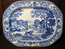 "Pearlware blue & white transfer printed platter Castleford pottery Leeds ""Lion"""
