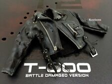 Hot Toys DX13 Terminator 2 T800 Battle Damaged 1/6 Black Jacket Bullet Holes NEW