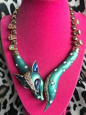 Betsey Johnson Teal Blue Star Fox Statement Wrap Necklace Crystal AB VERY RARE