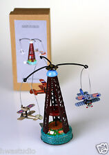 MM264 WIND UP AIRPLANE Carousel Tin Toy Planes Go Round  VINTAGE REPRODUCTION