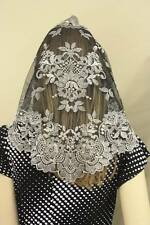 Silver Black Spanish style veils and mantilla Catholic chapel lace - large