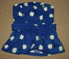 Women's Abercrombie blue floral belted smocked peplum top size XS