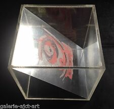 Rare Objet Cube Plexiglas Sculpture 1968 Signée 50 ex. Op Art Abstract Vintage