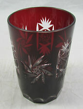 Ajka Marsala Ruby Red Cut to Clear Crystal Whiskey Glass Cup Tumbler