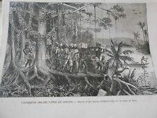 Gravure 1874 - Anglais contre les Ashantis Marche expéditionnaire bord du Prah