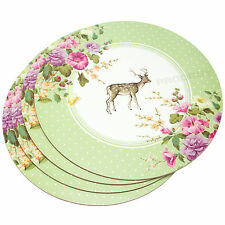 Set 4 Round Katie Alice Vintage Floral Stag Placemats Dining Table Settting Mats