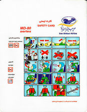 Safety Card AIRTOUR IRAN AIR MD-80 *Extremely RARE* Original Iran Air Tours