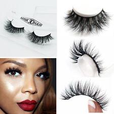 Hot 100% Real Mink Black Soft 3D False Eyelashes Cross Messy Eye Lashes 1 Pairs