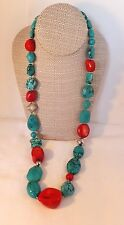Large Turquoise & red Coral bead necklace chunky Sterling silver signed A11