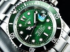 Legend Men's 200m Deep Blue Diver Parakeet Green Dial Stainless Steel Watch