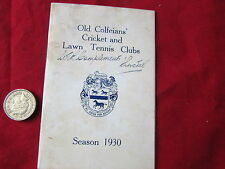 Old COLFEIANS Cricket & Lawn Tennis  Clubs Season 1930  Vintage FIXTURE Card