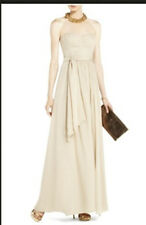 "$398 BCBG CHAMPAGNE ""CHATEL"" LONG DRESS GOWN NWT 0"