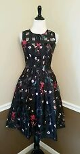 NWT Modcloth Retro Know How Dress S Voodoo Vixen Betsy Black Floral Swing PUG
