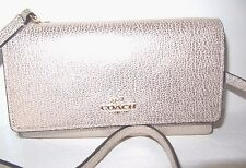 Coach New Phone Crossbody Wallet Light Platinum Leather Bag 65558 NWT $135