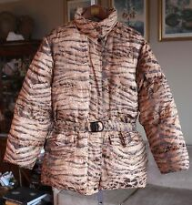 New Salvatore Ferragamo sz L Goose Down animal print padded coat jacket w/ belt