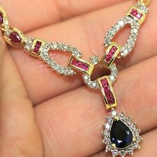 Estate 14k Yellow gold Natural Blue Sapphire Ruby & Diamond Necklace 13.56ctw