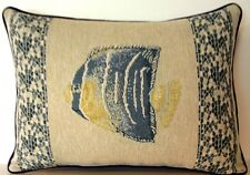 Tropical Fish w/ Mosaic Design Borders On Sides Tapestry Pillow New!