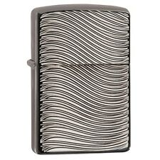 Zippo 29234, Armor, Deep Carved Waves, Black Ice Chrome Lighter, 2-Sided