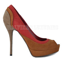GUCCI SHOES MULTI-COLORED SUEDE LEATHER OPEN TOE HIGH HEEL PLATFORM 37.5 / 7.5