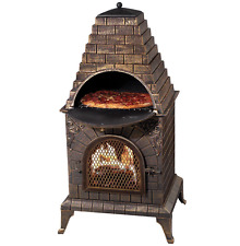 Outdoor Wood Fired Pizza Oven / Fireplace / Barbecue, Chiminea, Bronze Finish