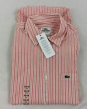 Lacoste Men's Shirt Regular Fit Trianon Pink White Orange EU 38 US S