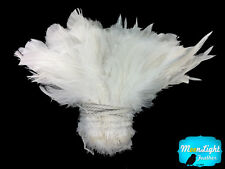 1 Yard - Natural WHITE Strung Schlappen Rooster Wholesale Feathers (bulk)