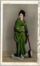 "1905 Detroit Publishing Postcard ""A Fair Japanese"" Geisha Girl Kimono Shamisen"