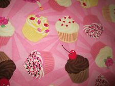 CUP CAKES CUPCAKES PINK DESSERTS COTTON FABRIC FQ