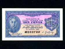 Malaya:P-2,10 Cents 1940 * King George VI * ORIGINAL AU !! * RARE *