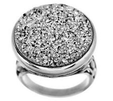 Round Drusy Quartz Floral Detail Sterling Silver Ring Size 7 -$118 QVC Sold Out!