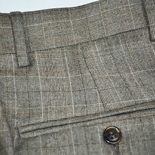 Mint JOS A BANK Signature Flannel 100% Wool Plaid Pleated Dress Pants Sz 32 x 30