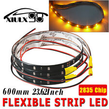 2X 60cm Car Motor Flexible Yellow LED Light Strip High Power 2835 Waterproof 12V