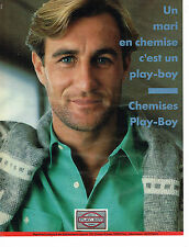 PUBLICITE ADVERTISING 054 1986  UN MARI  en chemise  PLAY-BOY