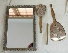 Vintage 4 PC Dresser Set (floral motif)(Tray, Brush, Comb & Hand Mirror)
