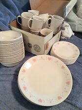 Corelle by Corning Ware Forever Yours Pink Hearts 60 Piece Dinnerware Set Beige