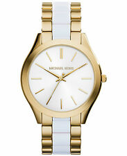 Michael Kors Watch MK4295 Ladies Slim Runway Gold-tone and White Accetate New