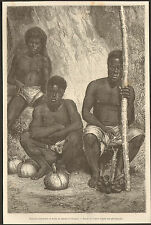 NOUVELLE CALEDONIE NEW CALEDONIA INDIGENES MARCHE NOUMEA GRAVURE 1867 OLD PRINT