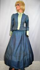 Antique Victorian Edwardian 1890's 1910's Blue Skirt Top Outfit Dress Size Small