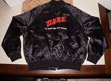 Vintage D.A.R.E. Dare To Keep Kids Off Drugs Satin Bomber Zip Up Jacket Size XL